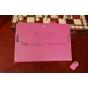 Фирменный чехол-обложка для Asus Memo Pad 10 ME102A с визитницей и держателем для руки малиновый натуральная к..