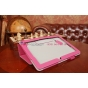 """Фирменный чехол-обложка для Asus Memo Pad 10 ME102A с визитницей и держателем для руки малиновый натуральная кожа """"Prestige"""" Италия"""
