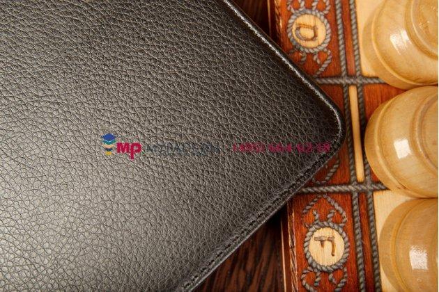 """Фирменный чехол открытого типа без рамки вокруг экрана с мульти-подставкой для Asus Memo Pad 8 ME180A model K00L черный натуральная кожа """"Deluxe"""" Италия"""