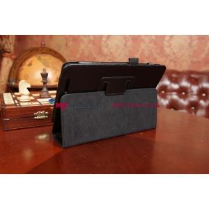 Фирменный чехол-обложка для Asus Memo Pad 8 ME180A черный кожаный