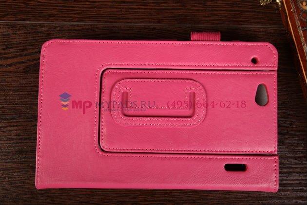 """Фирменный чехол-книжка для планшета Asus Padfone Mini 4.3 с визитницей и держателем для руки малиновый натуральная кожа """"Prestige"""" Италия"""