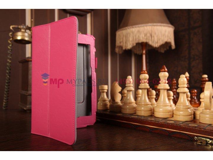 Фирменный чехол-книжка для планшета Asus Padfone Mini 4.3 с визитницей и держателем для руки малиновый натурал..