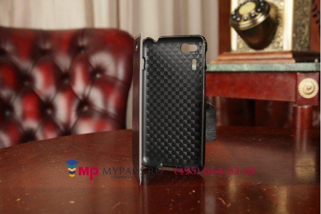 """Фирменный чехол-книжка для телефона Asus Padfone Mini 4.3 черный натуральная кожа """"Prestige"""" Италия"""