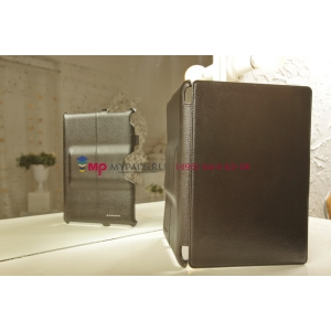 """Фирменный чехол для Asus Padfone Infinity New A86 T004 с мульти-подставкой и держателем для руки черный кожаный """"Deluxe"""" Италия"""