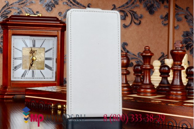 """Фирменный оригинальный вертикальный откидной чехол-флип для Asus Padfone S5 белый из качественной импортной кожи """"Prestige"""" Италия"""