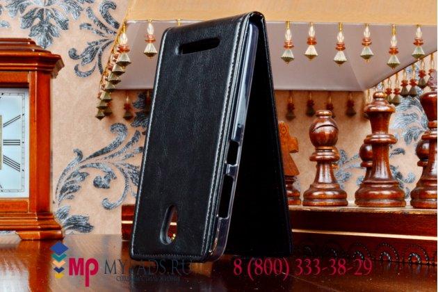 """Фирменный оригинальный вертикальный откидной чехол-флип для Asus Pegasus X002/X003 черный кожаный """"Prestige"""" Италия"""