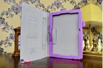 """Фирменный чехол бизнес класса для Asus Transformer Pad TF103CG K018 с визитницей и держателем для руки фиолетовый натуральная кожа """"Prestige"""" Италия"""