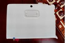 """Фирменный чехол бизнес класса для ASUS Transformer Pad TF303CL LTE K014 с визитницей и держателем для руки белый натуральная кожа """"Prestige"""" Италия"""