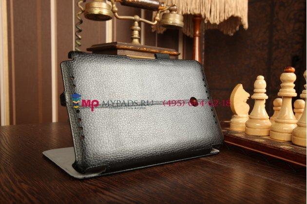 """Фирменный чехол открытого типа без рамки вокруг экрана для Asus VivoTab Note 8 M80TA B04G с мульти-подставкой и держателем для руки черный натуральная кожа """"Deluxe"""" Италия"""