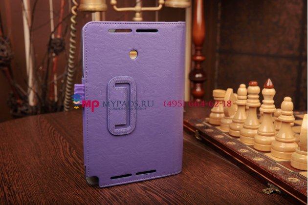 """Фирменный чехол-книжка для Asus VivoTab Note 8 M80TA с визитницей и держателем для руки фиолетовый кожаный """"Prestige"""" Италия"""
