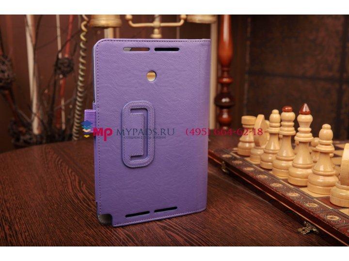Фирменный чехол-книжка для Asus VivoTab Note 8 M80TA с визитницей и держателем для руки фиолетовый кожаный
