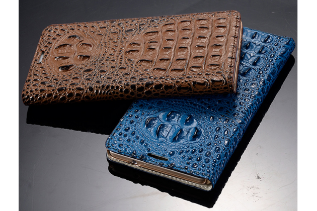 """Фирменный роскошный эксклюзивный чехол с объёмным 3D изображением рельефа кожи крокодила синий для Asus Zenfone 2 5.0"""" ZE500CL. Только в нашем магазине. Количество ограничено"""