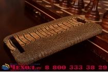 Фирменная элегантная экзотическая задняя панель-крышка с фактурной отделкой натуральной кожи крокодила кофейного цвета для Asus Zenfone Max ZC550KL 5.5. Только в нашем магазине. Количество ограничено
