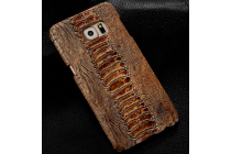"""Фирменная элегантная экзотическая задняя панель-крышка с фактурной отделкой натуральной кожи крокодила кофейного цвета для Asus Zenfone 2 5.5"""" ZE551ML. Только в нашем магазине. Количество ограничено."""