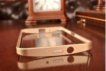 """Фирменный оригинальный ультра-тонкий чехол-бампер для Asus Zenfone 2 5.5"""" ZE550/ZE551ML золотой металлический"""