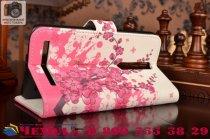 """Фирменный уникальный необычный чехол-книжка с визитницей кармашком для Asus Zenfone 2 5.5"""" ZE550/ZE551ML """"тематика цветок вишни"""""""