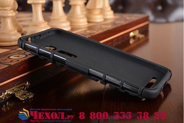 Противоударный усиленный ударопрочный фирменный чехол-бампер-пенал для Asus Zenfone 2E черный