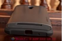 Противоударный усиленный ударопрочный фирменный чехол-бампер-пенал для Asus Zenfone 5 Lite A502CG серый