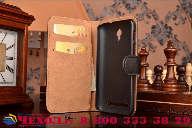 Фирменный чехол-книжка из качественной импортной кожи с подставкой для Asus Zenfone C ZC451CG черный