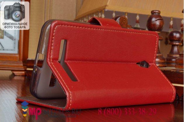 Фирменный чехол-книжка из качественной импортной кожи с подставкой для Asus Zenfone C ZC451CG красный