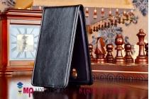 """Фирменный оригинальный вертикальный откидной чехол-флип для Asus Zenfone C ZC451CG черный кожаный """"Prestige"""" Италия"""