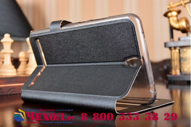"""Фирменный оригинальный чехол-книжка для ASUS ZenFone Go ZB690KG 6.9"""" черный с окошком для входящих вызовов водоотталкивающий"""