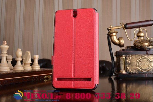 """Фирменный оригинальный чехол-книжка для ASUS ZenFone Go ZB690KG 6.9"""" красный с окошком для входящих вызовов водоотталкивающий"""