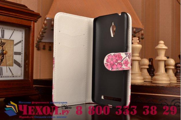"""Фирменный уникальный необычный чехол-книжка с визитницей кармашком для Asus ZenFone Go ZC500TG """"тематика цветок вишни"""""""
