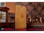Фирменный роскошный эксклюзивный чехол с объёмным 3D изображением кожи крокодила коричневый для Asus ZenFone G..