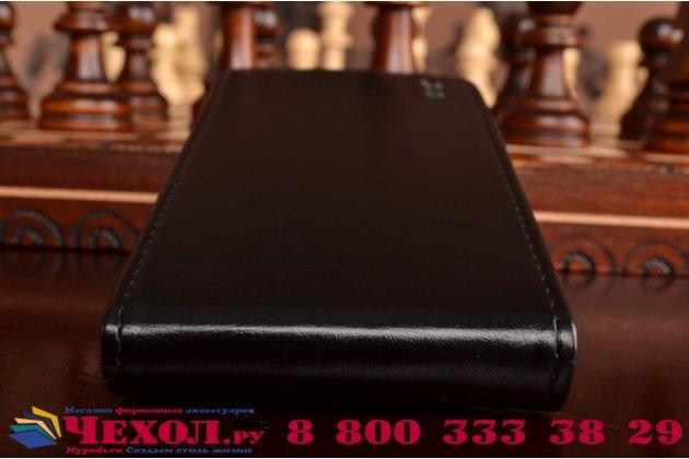 """Фирменный оригинальный вертикальный откидной чехол-флип для  Asus Zenfone Go ZC500TG 5.0""""  черный из натуральной кожи """"Prestige"""" Италия"""