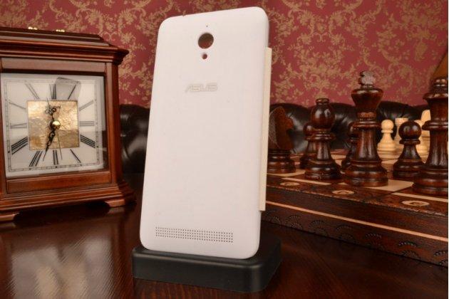 Ультра тонкий лёгкий чехол-обложка с окном для входящих вызовов для Asus ZenFone Go ZC500TG  белый