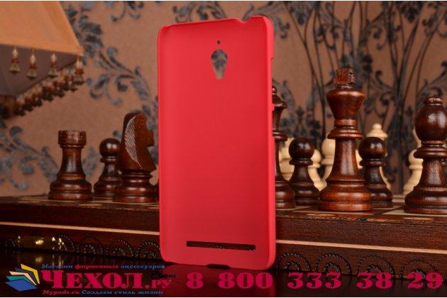 Фирменная задняя панель-крышка-накладка из тончайшего и прочного пластика для Asus Zenfone GO ZC500TG красная