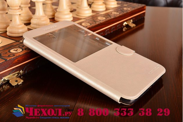 """Фирменный оригинальный чехол-книжка для ASUS ZenFone Go ZB690KG 6.9"""" золотой с окошком для входящих вызовов водоотталкивающий"""