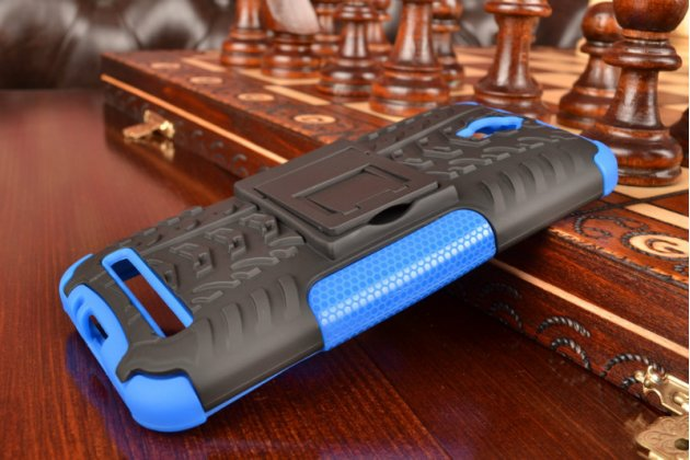 """Противоударный усиленный ударопрочный фирменный чехол-бампер-пенал для Asus Zenfone Go ZC451TG 4.5"""" синий"""