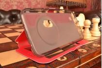 Фирменный чехол-книжка для ASUS ZenFone Zoom ZX551ML / ZX550ML красный с окошком для входящих вызовов и свайпом водоотталкивающий