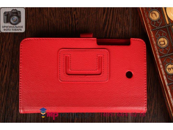 Фирменный чехол-футляр для Asus Fonepad 7 FE375CXG K019 красный кожаный..