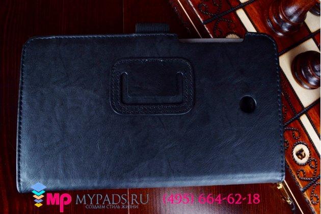 """Фирменный чехол бизнес класса для Asus Fonepad 7 FE375CXG K019 с визитницей и держателем для руки черный натуральная кожа """"Prestige"""" Италия"""