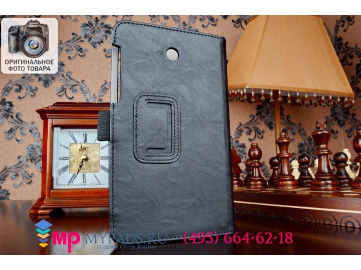 Фирменный чехол бизнес класса для Asus Fonepad 7 FE375CXG K019 с визитницей и держателем для руки черный натур..
