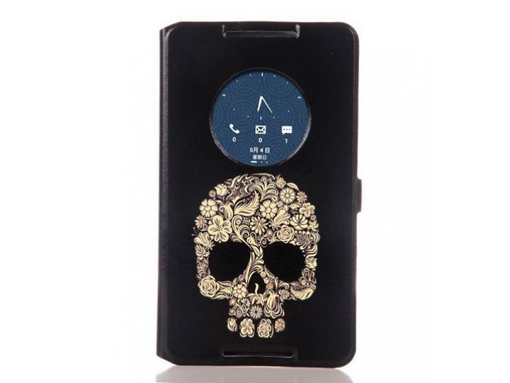 Фирменный чехол-книжка с безумно красивым расписным рисунком черепа на Asus Fonepad 8 FE380CG/FE380CXG (K016) ..