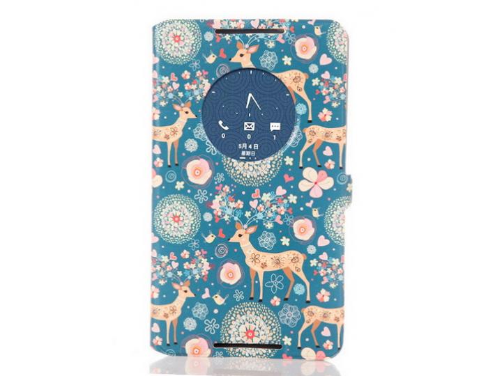 Фирменный чехол-книжка с безумно красивым расписным рисунком Оленя в цветах на Asus Fonepad 8 FE380CG/FE380CXG..