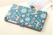 Фирменный чехол-книжка с безумно красивым расписным рисунком Оленя в цветах на Asus Fonepad 8 FE380CG/FE380CXG (K016) с окошком для звонков