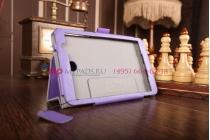"""Фирменный чехол бизнес класса для Asus Memo Pad 7 HD ME176CX model K013 с визитницей и держателем для руки фиолетовый натуральная кожа """"Prestige"""" Италия"""