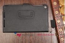 """Фирменный чехол бизнес класса для Asus Memo Pad 7 HD ME176CX K013 с визитницей и держателем для руки черный натуральная кожа """"Prestige"""" Италия"""