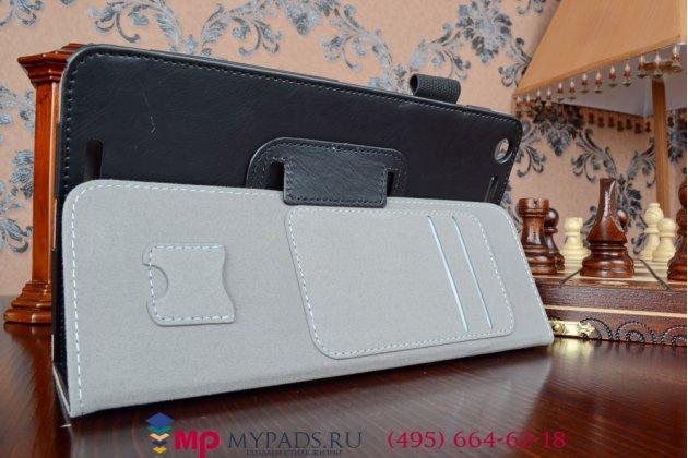 """Фирменный чехол обложка для Asus Memo Pad 8 FHD ME581CL model K015 с визитницей и держателем для руки черный натуральная кожа """"Prestige"""" Италия"""