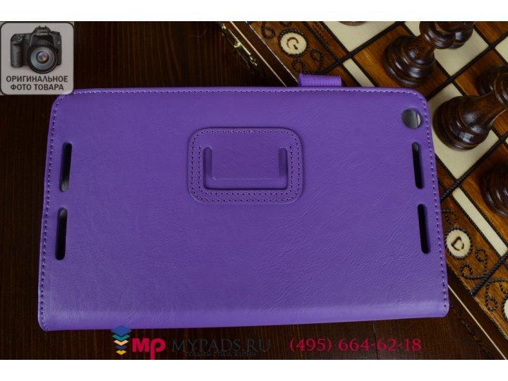 Фирменный чехол бизнес класса для Asus Memo Pad 8 FHD ME581CL K015 с визитницей и держателем для руки фиолетов..