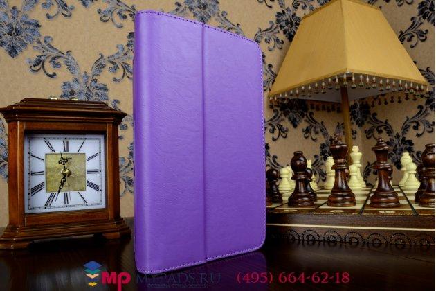 """Фирменный чехол бизнес класса для Asus Memo Pad 8 FHD ME581CL K015 с визитницей и держателем для руки фиолетовый натуральная кожа """"Prestige"""" Италия"""