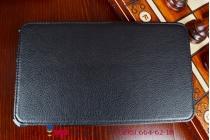 """Фирменный чехол для планшета Asus Memo Pad 8 FHD ME581CL model K015 с мульти-подставкой и держателем для руки черный кожаный """"Deluxe"""" Италия"""