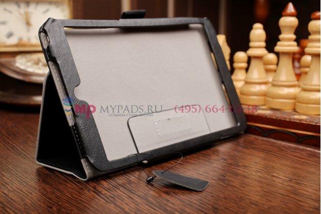 """Фирменный чехол бизнес класса для Asus Memo Pad 8 ME181C K011 с визитницей и держателем для руки черный натуральная кожа """"Prestige"""" Италия"""