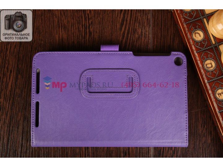 Фирменный чехол-книжка для Asus Memo Pad 8 ME181CX model K011 с визитницей и держателем для руки фиолетовый на..