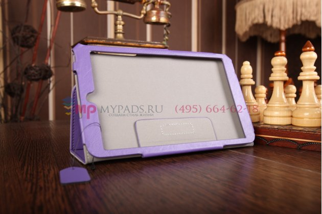 """Фирменный чехол-книжка для Asus Memo Pad 8 ME181CX model K011 с визитницей и держателем для руки фиолетовый натуральная кожа  """"Prestige"""" Италия"""